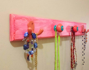 """Wall Rack """"Wood"""" for Hanging Scarfs, Jewelry, Accessories or Other  - Melon """"Weathered Look"""" w/Decorative Knobs"""