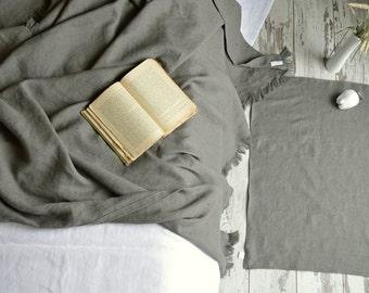 Linen throw blanket with fringe - Softened thick linen coverlet - Heavy weight  linen blanket - Gray linen bedspread - Summer blanket
