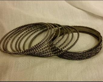 Lot of 10 Twisted Metal Bangle Bracelets