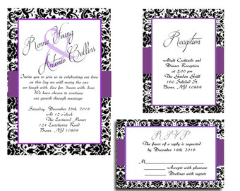 25 Purple Black Damask Wedding invitations RSVP and Reception cards