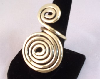 Big Brass Ring ,Spiral Ring