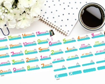 Planner Stickers |2 sheet 16 Week Cruise Countdown|Use in a variety of planner or journal types| CD001
