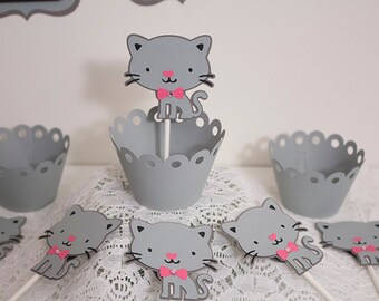 Kitty Cat Cupcake Toppers, Cat Theme Cupcake Toppers, Kitty Cat Birthday theme, Set of 12 Toppers