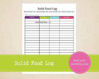 Solid Food Log - Baby Planner - Pregnancy Planner - Printable and Editable - INSTANT PDF DOWNLOAD