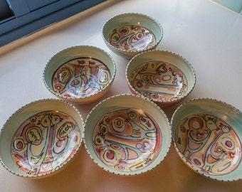 hand painted bowls,desert bowls,soup bowls, serving bowl, colorful bowl, birds bowls,pottery bowls,ceramic bowls,cereal bowls, round bowls