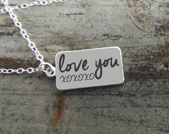 Silver Rectangle Pendant Necklace - YOUR HANDWRITING - or text, Sterling Silver - Perfect For Layering -Jewelry For Her - Anniversary Gift