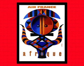 Africa Travel Print 1960 - Air France Travel Poster African Print Air France Poster Africa Poster Travel Wall Art Housewarming gift  bp