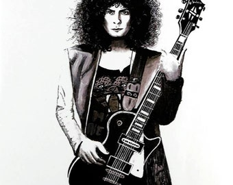 Painting of Marc Bolan, print
