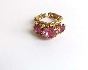 Vintage 3 Big Pink Rhinestones Adjustable Ring From The 1960s