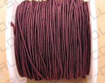 Cord, stretch, polyester and elastic, Brown Color, 20 yards, Size 1.0mm