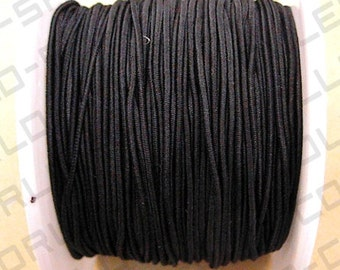 Cord, stretch, polyester and elastic, Black Color, 20 yards, Size 1.0mm