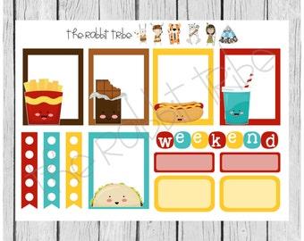 Weekly sticker set - Kawaii Junkfood - planner stickers