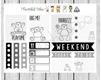 Sketchy Sets - teddy bear, teddies - planner stickers