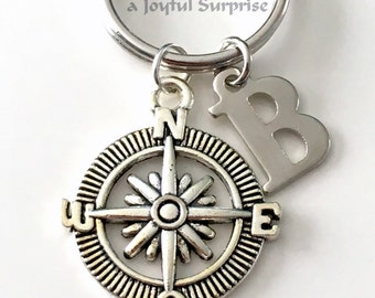 Silver Compass Keychain, Hiking Keyring, Boating Key Chain, Gift for Boy Scout, Climbers Travel Letter initial Traveler's Fisherman him her