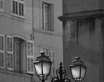 NEW! PRINTABLES - Provence Streets, France, Black&White Photography, Noir, Monochrome Photo Art, Aix-en-Provence, Provencal Chandelier
