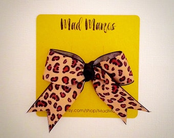 Leopard Print Bowtie with Tails, leopard bow, leopard baby bow, leopard girls bow, leopard print, leopard hair accessories, leopard, bow