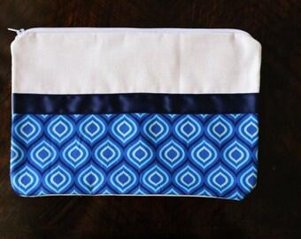 Blue 70s style pencil case