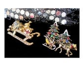 Christmas Sleigh Winter Pins With Rhinestones * Lot Of Two * Retro Vintage * Stocking Stuffer