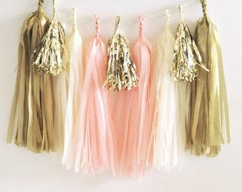 DIY Tassel Garland Kit, Pink and Gold Tassel Garland