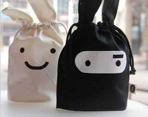 White & Black Ninja Rabbit Bags - Cute Bunny Large Drawstring Pouch - Favor, Gift, Lunch Sack, Cosmetic, Travel Toiletry Tote Makeup Shaving