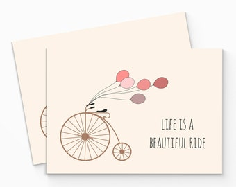 Printable Romantic Bicycle Card. Life Is A Beautiful Ride. Bike Love Card, Printable. All Occasion Card. Blank Note Card. Thank You Card.