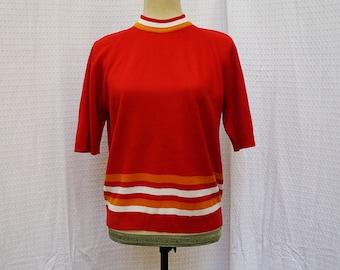 70s High Neck Short Sleeve Sweater