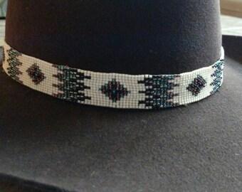 Cream beaded cowboy hat band