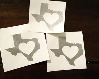 Texas heart decal