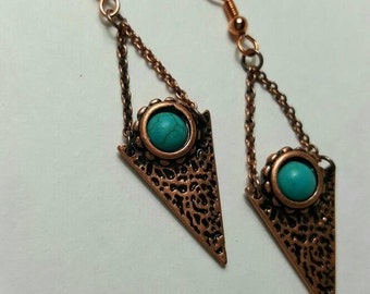 Mint Green Stone & Arrowhead Copper Handmade Earrings