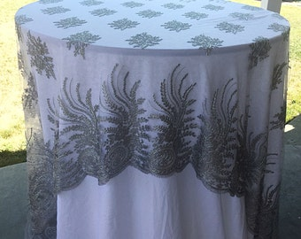 SALE!! silver embroidered lace tablecloth, table overlay, table runner, wedding decor, silver table cloth, table cloth, 4 way boarder