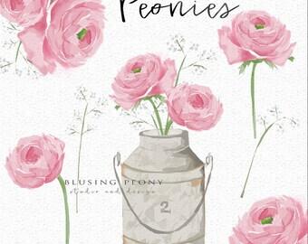 Peonies - Watercolor clip art- digital - instant download