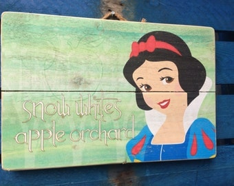 Snow White Apple Orchard Disney Inspired Handmade recycled Wood Art