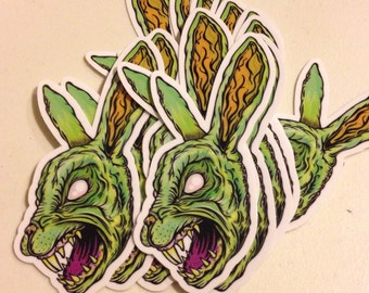 "Pack of 2  - The Horror Corner Bunny Head Vinyl Stickers - 3 1/2""x2"" (sale)"