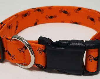 dog collar, black spiders, halloween dog collar, halloween collar, fall dog collar, fall collar, halloween, spiders, fall, autumn