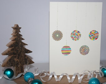 Baubles - Hand-Finished Christmas Card (1 of 6 Different Designs)