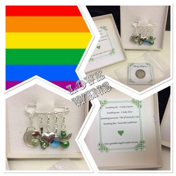 Irish Groom pin, same sex marriage gift. Something old, something new ...