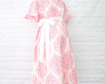 15% OFF SALE - Delaney's Damask | Pink and White Hospital Gown | Labor & Delivery Gown