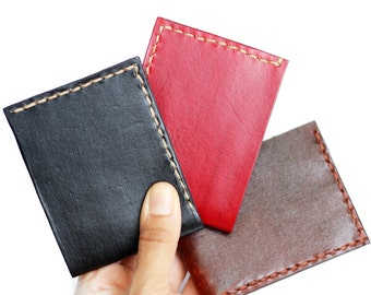 Mens Hand-Stitched Leather Wallet, Hand-Dyed Leather Wallet