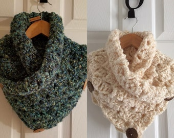 Cowl Scarf with Wooden Buttons - Teal and Cream Available