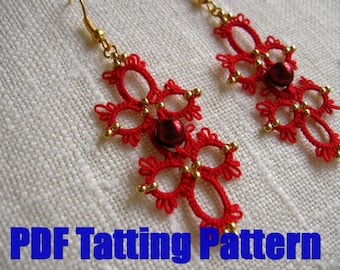 PDF Tatting pattern Red Earrings 2 Shuttle tatted beaded lace hand made Tatted beaded jewelry