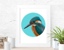 Kingfisher, Bird wall art, Diy home decor, Bird art print, Photo gift mom, Wall art prints, Teal bathroom decor, Teal bedroom decor,
