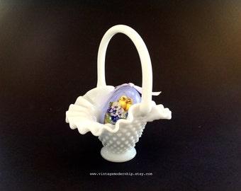 Vintage Fenton Glass Basket - Glass Hobnail Basket - Milk Glass Basket