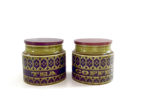 Mid century kitchen canisters coffee and tea canister - Modern tea and coffee canisters ...