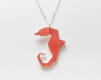 Origami seahorse necklace