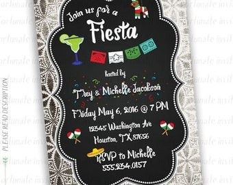 fiesta invitation printable, fiesta party invitations, fiesta invites adults, party invites cinco de mayo invitation grunge digital printed