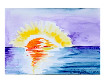 "Water Sunset I, original water color, 18 cm x 12.5 cm ( 7"" x 5"" )"