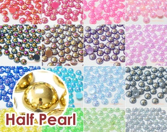 Fantasy AB Colors Half Pearl Round Flat Back Resin Cabochons Deco Scrapbooking Nail Art Craft 2/3/4/5/6/8/10mm - 50/200/1000pcs