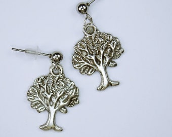 Tree earrings silver tree earrings with stainless steel ball plugs of life