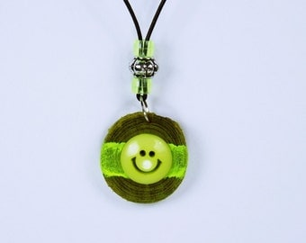 Lit necklace smiley party chain of green olive wood with yellow beads on a black leather strap black light fluorescent paint