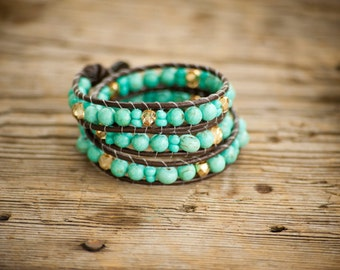 Turquoise and gold triple wrap (bracelet or anklet)